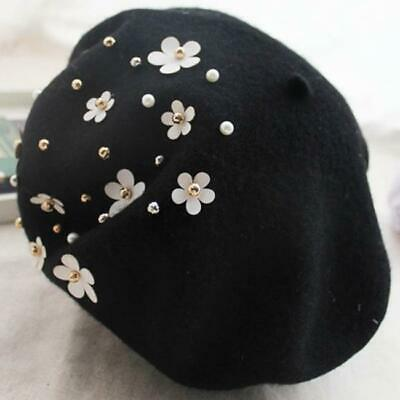 Elegant Womens Lolita Pearl Bow Wool Beret Hat Sailor Artist Painter Cap Gifts