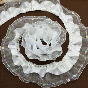 NEW-5yards-3-Layer-45mm-White-organza-Lace-Gathered-Pleated-sequined-Trim-G018