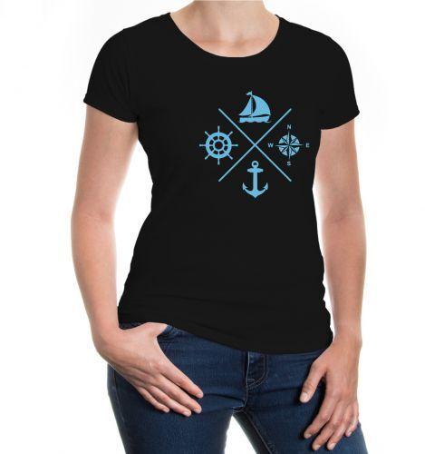 Femmes Manches Courtes Fille T-shirt voile symboles yachting voile voilier Ancre symbole