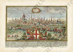 London-antique-panorama-view-plan-map-1720-Londinium-Londinum-art-poster-print
