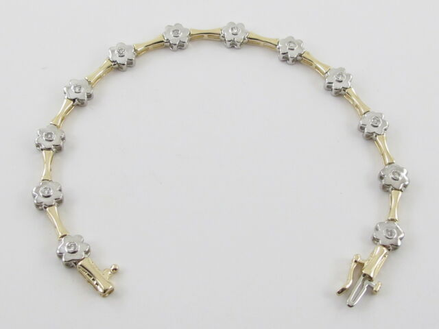 14k Yellow And White Gold Flower Design Diamond Tennis Bracelet 7 0 60 Carat