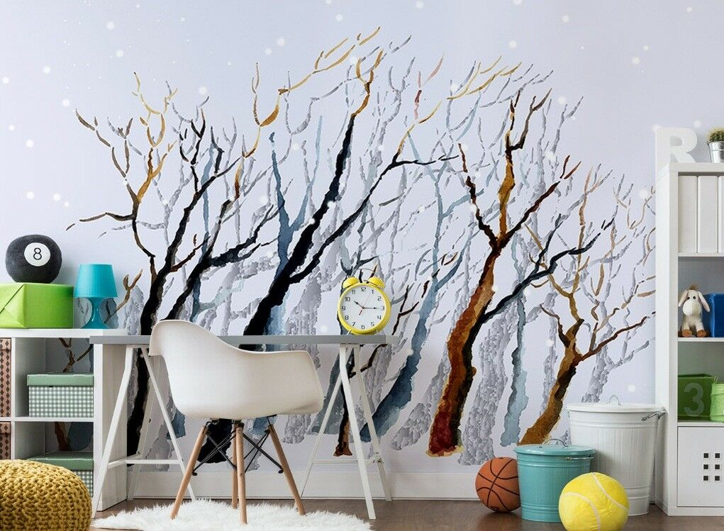 3D Trees Graffiti 565 Wall Paper Exclusive MXY Wallpaper Mural Decal Indoor wall
