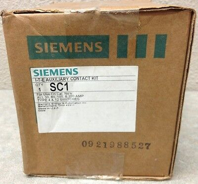 SIEMENS SC1 SC-1 AUXILIARY CONTACT KIT FOR 30,60,100,200 AMP TYPE 4/&12 SWITCHES