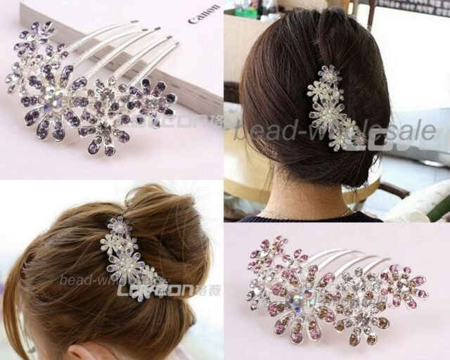 1x Clear Rhinestone Flower Pattern Comb Bridal Hair Pin Clip  Purple/Pink