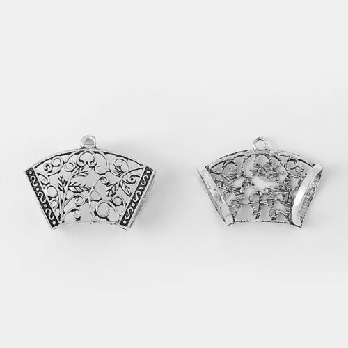 5Pcs Antique Silver Hollow Filigree Flower Charms Scarf Bails Connctors Findings