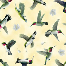 FABRIC Quilting Treasures ~ HUMMINGBIRDS ~ Hautman Brothers (25935 S) by 1/2 yd