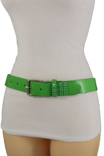 Women Popular Belt Green Faux Leather Silver Metal Buckle Studs Size S M L XL