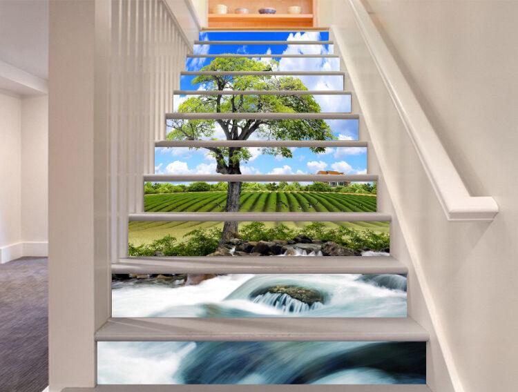 3D Lawn sky tree 3 Stair Risers Decoration Photo Mural Vinyl Decal Wallpaper UK