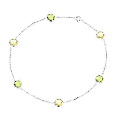 Fine Anklets Jewelry & Watches 14k Oro Blanco Tobillero Con Perídoto Y Limón Topacio Piedras Preciosas 26.7cm And Digestion Helping