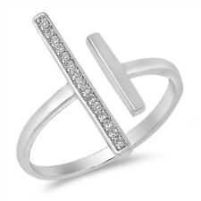 Line Open Unique Clear CZ Fashion Ring New .925 Sterling Silver Band Sizes 6-10