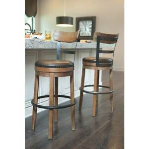 Remarkable Details About Rustic Industrial Bar Stool W Back Round Swivel Faux Leather Seat Metal Wood Ibusinesslaw Wood Chair Design Ideas Ibusinesslaworg