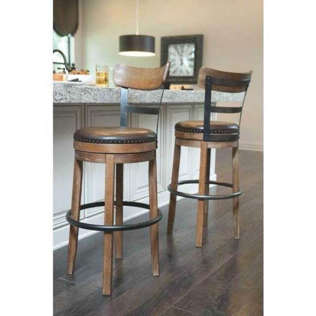 Rustic Industrial Bar Stool W Back Round Swivel Faux Leather Seat Metal Wood Ebay