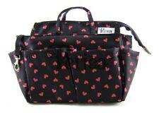 Periea Handbag Organiser, Liner, Insert Black With Red Hearts - Sash