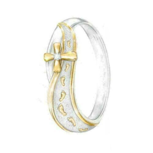 Strass ring zweifarbig kreuz zeichen ring frauen schmuck finger luxus ornam J8V1