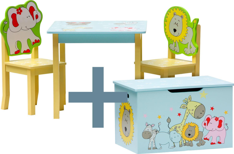 Ensemble table et chaises enfant - SAFARI - coffre à jouets Set meubles bois