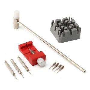 10-tlg-Uhrmacher-Werkzeug-Set-Stiftausdruecker-Armbandkuerzer-Hammer-Bandhalter