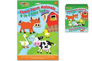 Schaum Spielset Bauernhoftiere 4 IN 1 - TY9780 Craft Create Activity Art Sticker