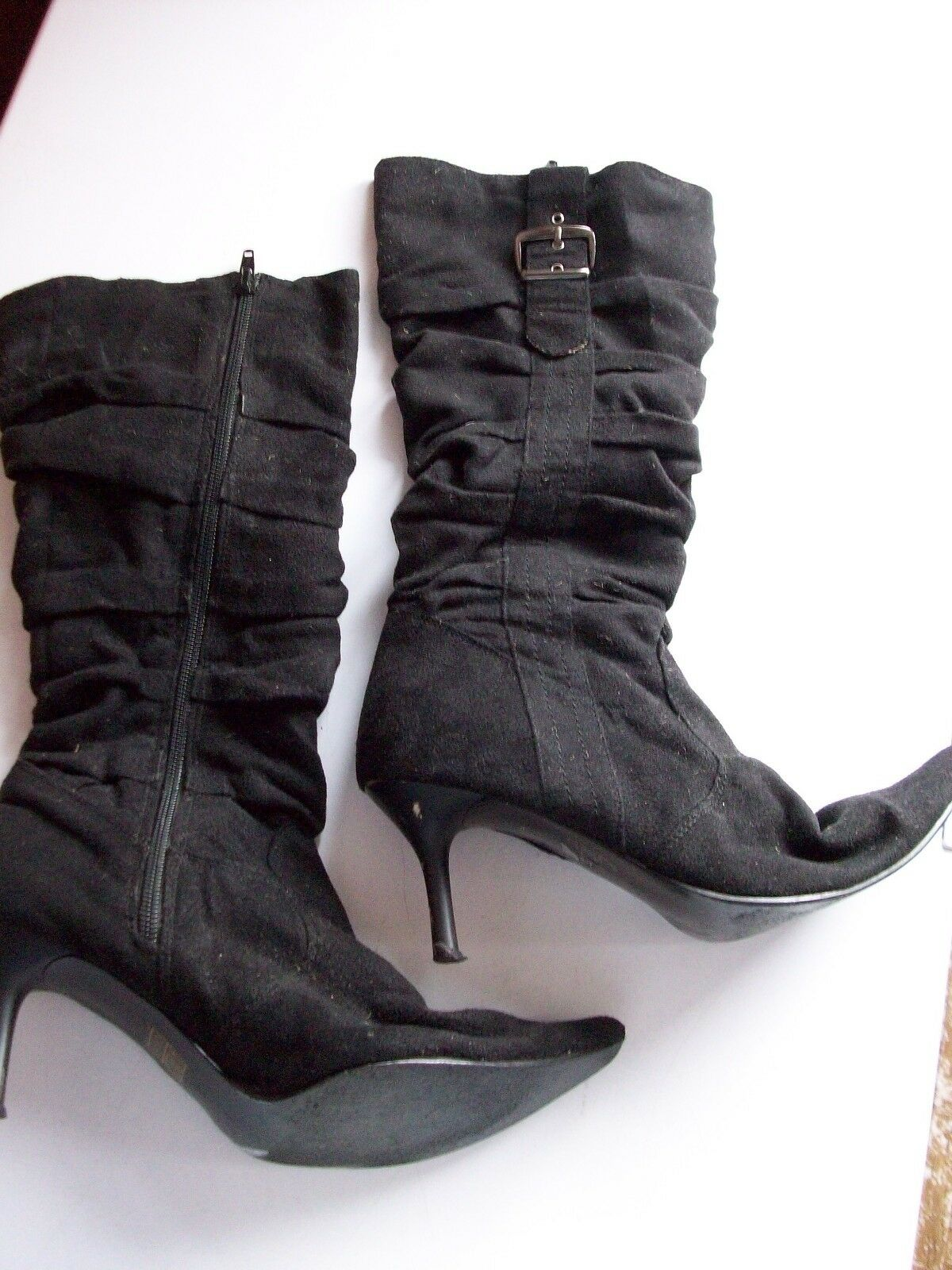 X'ite BLACK SUEDE LOOK RUCHED ZIP STILETTO BOOTS UK6 NARROW **GC**