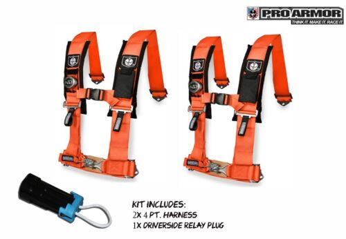 "2x Pro Armor 2/"" 4pt Harness Seat Belt w//Sewn Pads Orange Polaris Can-Am Kawasaki"