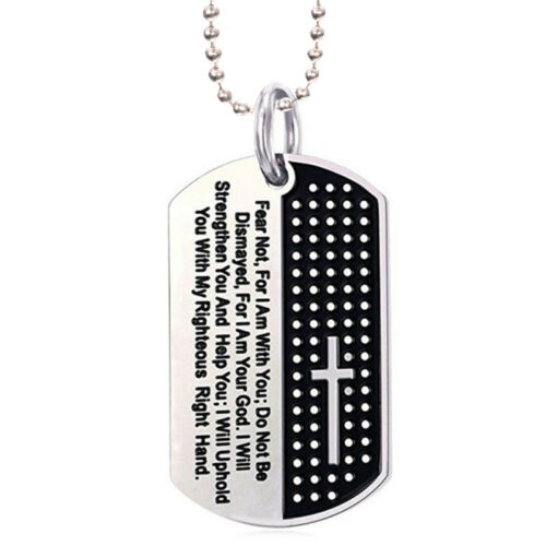 Dog Tag Cross Necklace Pendant Stainless Steel Necklace Chain Fashion Jewelry YJ