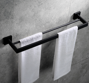 Bath Black bathroom double towel rack Stainless Steel towel bar European 50cm