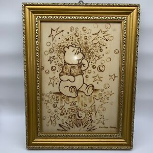 Winnie-The-Pooh-Antique-Picture-Pyrography-Wood-Etched-Burned-Carved-Wall-Art