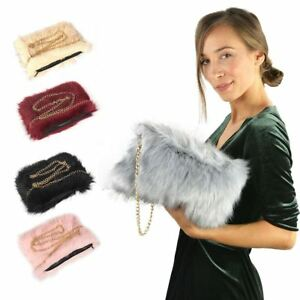 New-Women-Lady-039-s-Shoulder-Faux-Fur-Fluffy-Bag-Gold-Chain-Zip-Bag-Purse-Uk