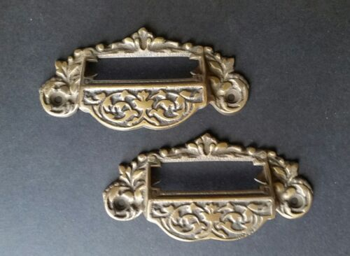 """2 Victorian Antique Style Apothecary Bin Pull Handles w.label holder 4 3//4/"""" #A7"""