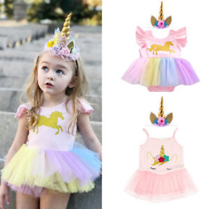 44452da21889e Details about Unicorn Birthday Costume for Baby Girls Cosplay Romper Tutu  Dress Party Outfits