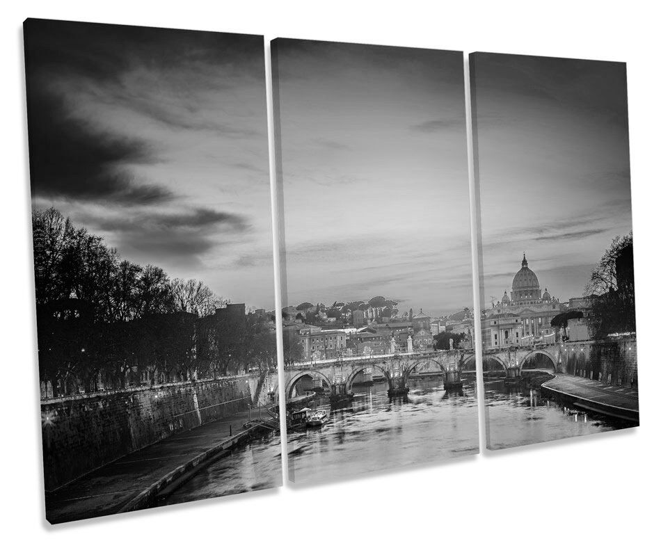 St Peters Cathedral Rome Sunset  B&W TREBLE CANVAS WALL ART Box Framed Pict