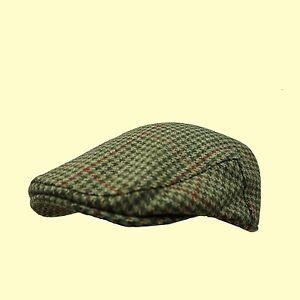 Tweed-Flat-Cap-100-Wool-Check-Cap-Tweed-Farmer-Cap-Shooting-Cap-XS-to-XXL