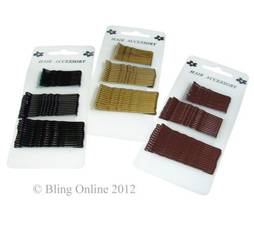 CARD OF 36 ASSORTED MIXED SIZE KIRBY STYLE HAIR GRIPS SLIDES BLACK BROWN OR GOLD