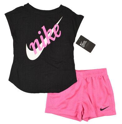 esclavo rasguño Mejor  Nike Niñas 2pc Conjunto Traje, Pantalones Cortos Rosa y Negro Top Talla 4-5  o 5-6 años | eBay