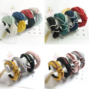 Ladies-twist-knot-pattern-Cross-headband-elastic-head-wrap-turban-hair-band-NG