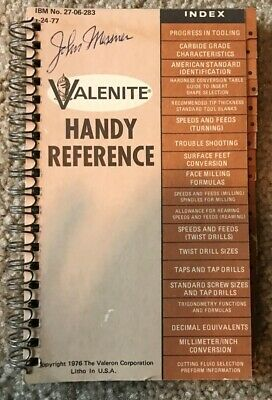 Tireless Valenite Handy Reference Index World Leader In Indexable Insert Tools 1976 Used An Indispensable Sovereign Remedy For Home Tools, Hardware & Locks Collectibles