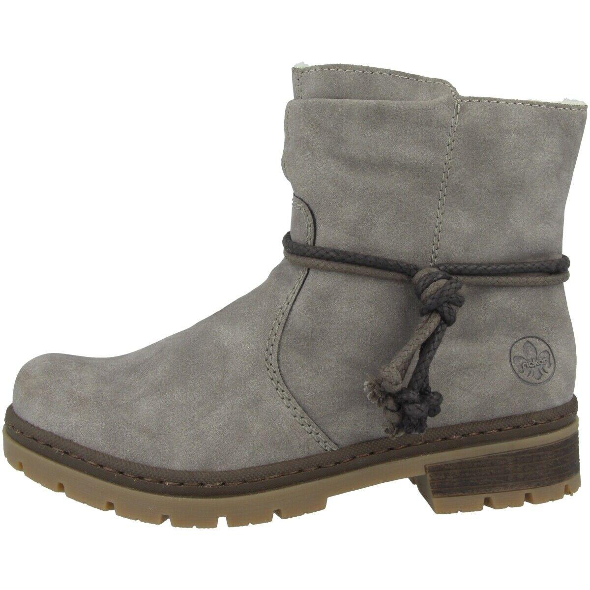 Rieker Merapi Schuhe Winter Stiefeletten Damen Stiefel gefüttert grau Y7463-40