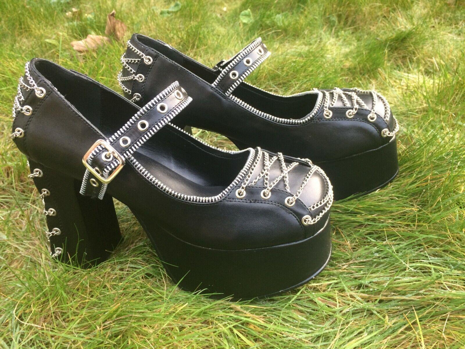 7b1a25915ca Demonia Demonia Demonia CHARADE-25 Black Platform Heels Goth Punk UK8 a254a3