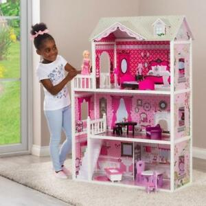 Doll House Large Kids Play Wooden Mansion With Furniture Set Fits