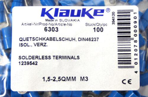 100 Klauke Quetschkabelschuh1,5-2,5QMM M3DIN 46237isoliertverzinkt