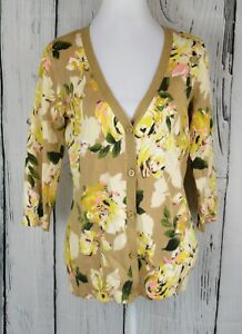 Olive Button Front Top Live Cardigan S 4 Isaac Sleeve Sweater Floral 3 Mizrahi TqwHtPF