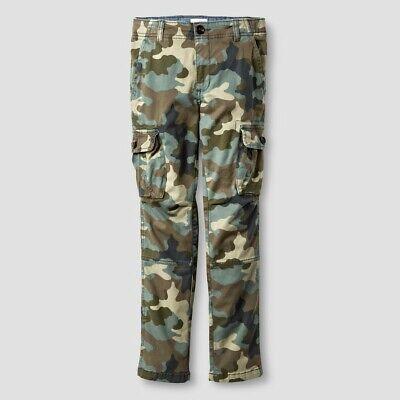 NEW Boys/' Slim Fit Stretch Cargo Pants Cat /& Jack Gray 18H Husky NWT