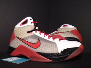 buy popular 7fe94 d9b7b Image is loading 2008-NIKE-HYPERDUNK-TAR-WHITE-RED-BLACK-ZOOM-
