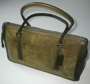 Image Is Loading Coach Vintage Bonnie Olive Green Suede Leather Zip