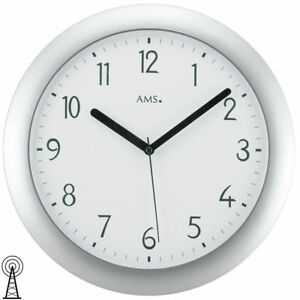 Weitere Uhren Silberfarbenes Kunststoffgehäuse Verantwortlich Ams 5843 Wanduhr Funk Uhren & Schmuck