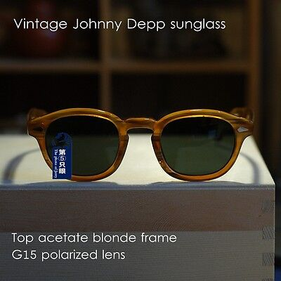 Small Vintage polarized sunglasses Johnny Depp glasses mens blonde brown lenses