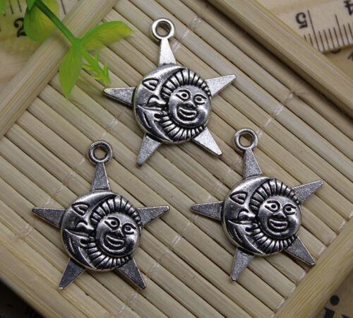30//60pcs retro Jewelry Making DIY Sun Moon Star alloy charms pendant 27x25mm