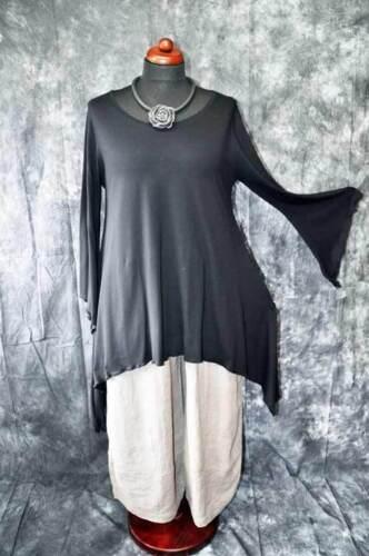 XXL XL Lagenlook raffinato STREGHE-Tunica-shirt maniche a pipistrello NERO 44,46,48 L