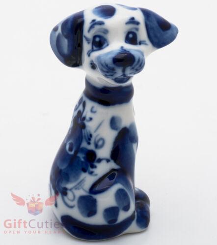 Gzhel Porcelain Dalmatian Dog Figurine handmade symbol of 2018 New Year
