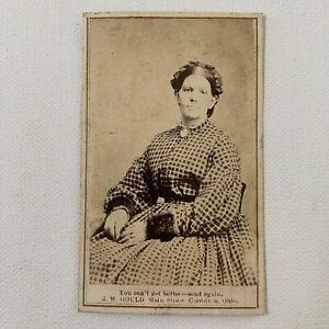 Antique-CDV-Photograph-Beautiful-Victorian-Woman-Plaid-Dress-CARROLLTON-OHIO