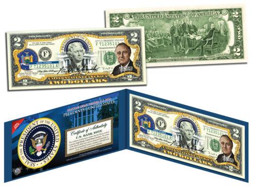 Colorized $2 Bill Legal Tender FDR FRANKLIN D ROOSEVELT President 32nd U.S